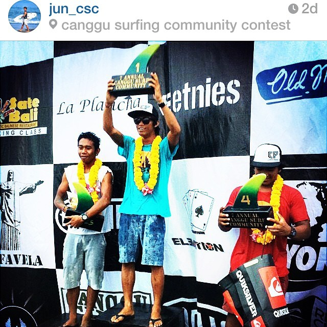 Yeah Jun! Taking the top of the podium in the black 66's. Congrats buddy! @jun_csc  #goodhumancrew  @canggusurfcommunity #double6sandals #66 #soleswithsoul