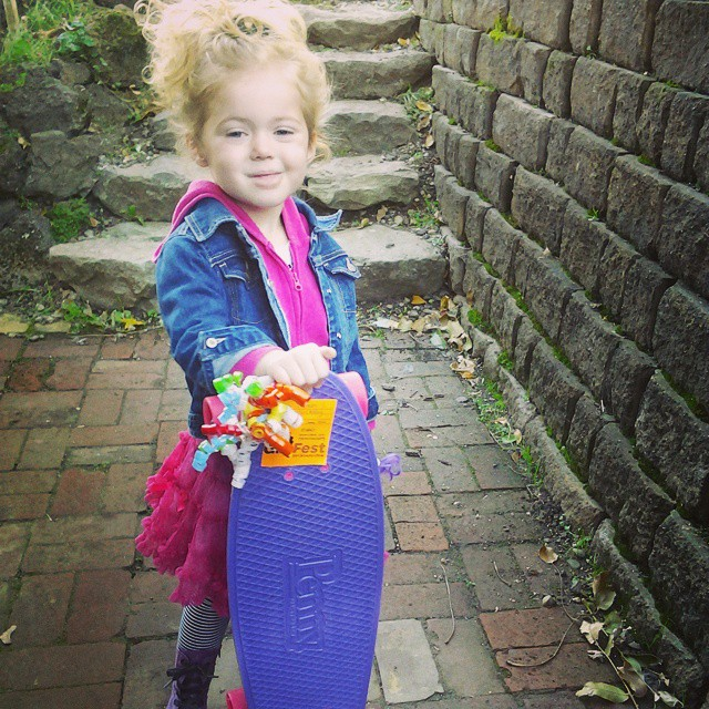 New #grorider stoked on her new #pennyboard.  Love the purple and pink board matching her head to toe pink and purple outfit