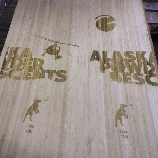 Custom #laser engraved, #bamboo veneers ready for the #Alaska Powder Descent guides and 2015 demo fleet.  #nodyes #noinks #environmentally #sensitive