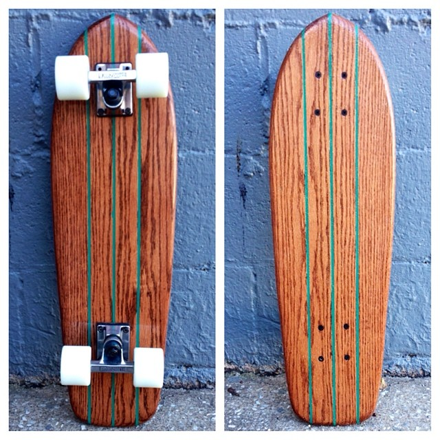 Another classic cruiser available now. Mahogany stain, teal pinners, glow wheels