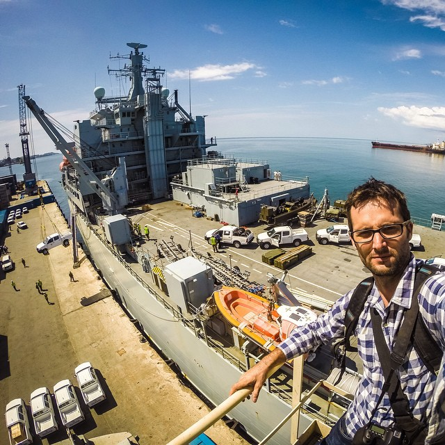 "Photo of the Day!  Michael Duff says, ""British ship RFA Argus lands in Freetown, Sierra Leone full of supplies and personnel to help kick Ebola out of this country!"" Our hearts got out to everyone affected by this terrible disease, and our hats are off..."