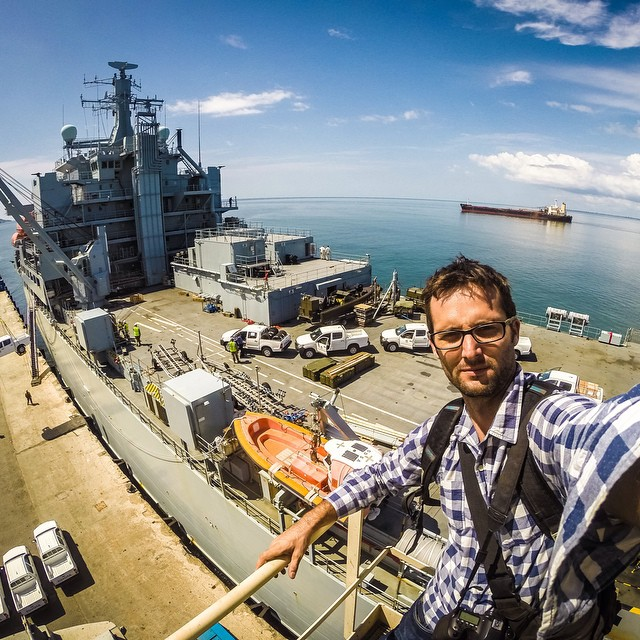 "Photo of the Day!  @duff_mick says, ""British ship RFA Argus lands in Freetown, Sierra Leone full of supplies and personnel to help kick Ebola out of this country!"" Our hearts got out to everyone affected by this terrible disease, and our hats are off..."