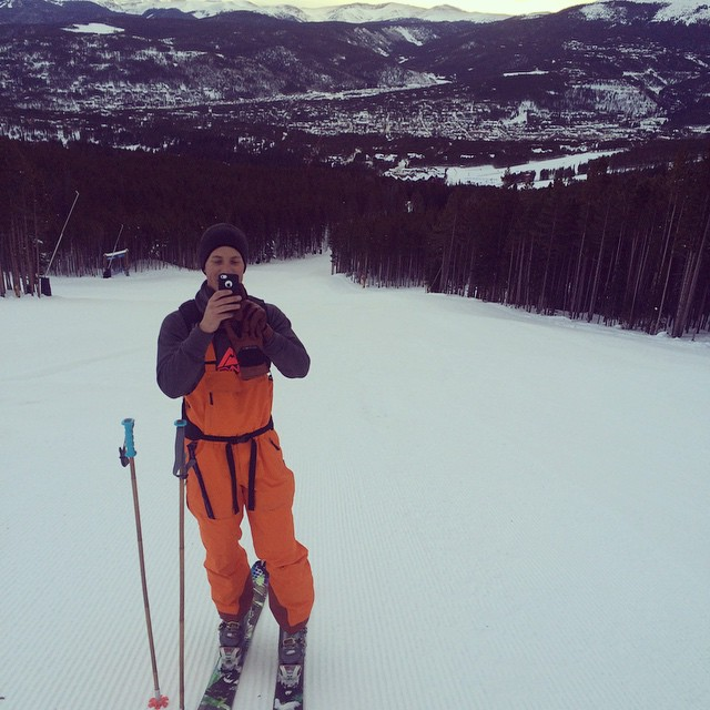 Nick caught taking a selfie as we skinned up Breckenridge this morning on #dawnpatrol ... Catch us all day at Wilderness Sports and come by later for a beer and a burger