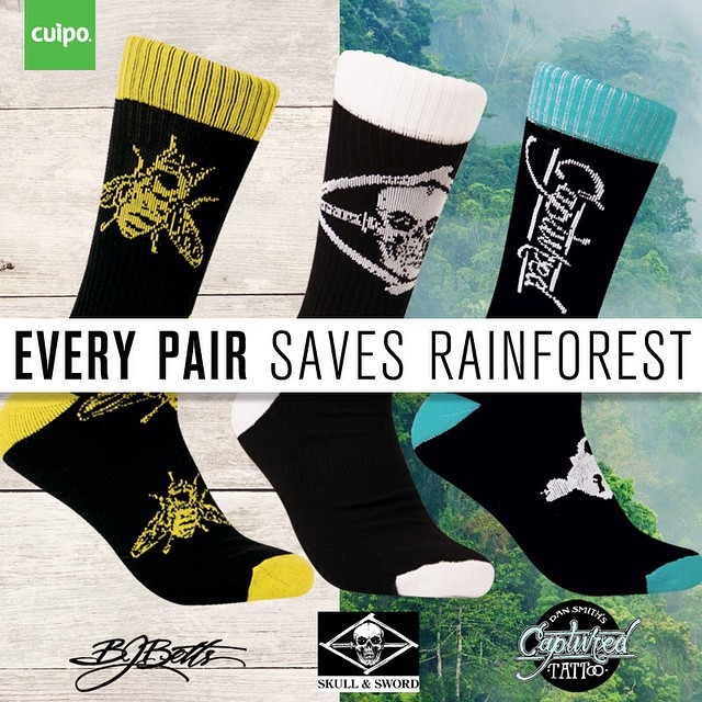Three new limited edition #CuipoArtistSocks are available now! This exclusive #tattoo series features @bjbetts of @statestreettattoo, @the_grime of @skullandsword and @dansmithism of @capturedtattoo.  Every pair sold saves 1 sq. meter of #rainforest,...