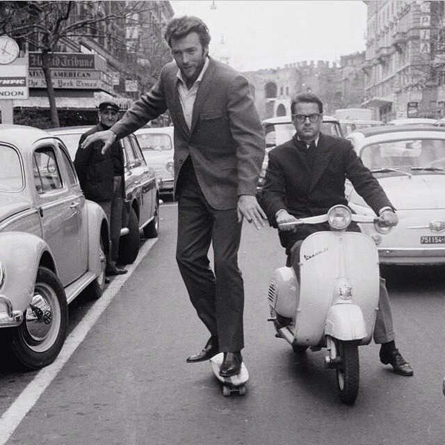 Is that Clint Eastwood riding an Oak Cruiser in Rome in 1965? I think so #handmade #skateboards #skatetheedges #oakcruiser