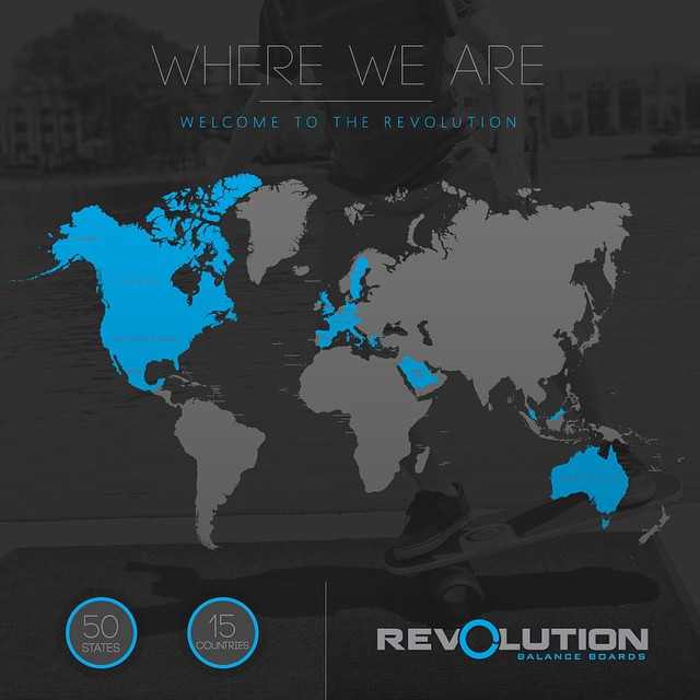Check out our map of the Revolution. Our boards have been used in all 50 states and over 25 countries! Thank you ❤️ #balanceboard #world #revolution