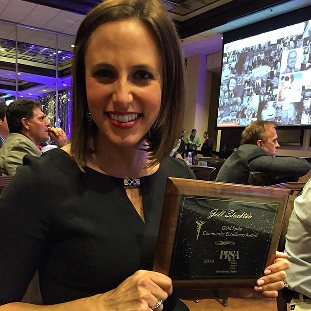 #regram from @jbstockton   Congratulations and well-deserved #goldenspike award from @prsareno, you rock Jill!