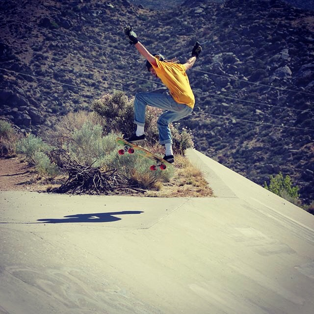 Josh Dunn--@beautyoutofbabylon, nuts and bolts expert at @easternskateboardsupply and writer of BeautyOutOfBabylon.com flying on the Bonzing Da Kine!  #joshdunn #bonzing #dakineskateboard #newmexico
