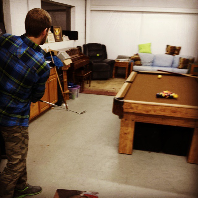 #Friday activity winner of.. 'land tennis ball on #laZboy with a pitching wedge' game. Wedged the cushions. Take careful notice of #camofriday, new winter-themed #flannelfriday, and the traditional #Movember beard.  #grassracks #bamboo #camo #flannel...