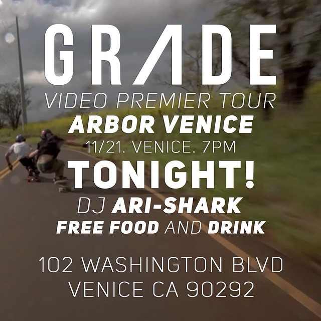 #GRADE is premiering tonight in Venice! Come by @arborvenice for beer, food, and live music!