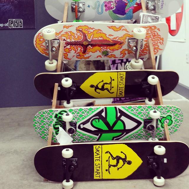 Skatestart complete setups ready to rip available at @crisis_skateboards . Cool to be on the same rack as @powellperalta classic setups. Get one now!  #skatestart #bonesbrigade #crisisskate
