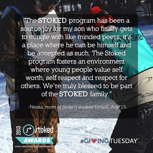 We love it when parents give us feedback! #stokedawards #givingtuesday #donatedec3