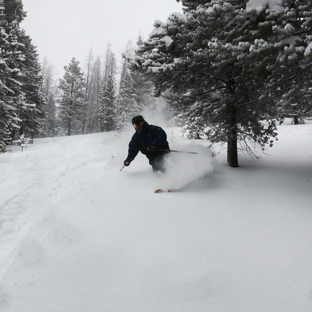 Rep Pete Haugh crushing the #powder in Game Creek at @vailmtn today #orangehot  #Colorado #getsome