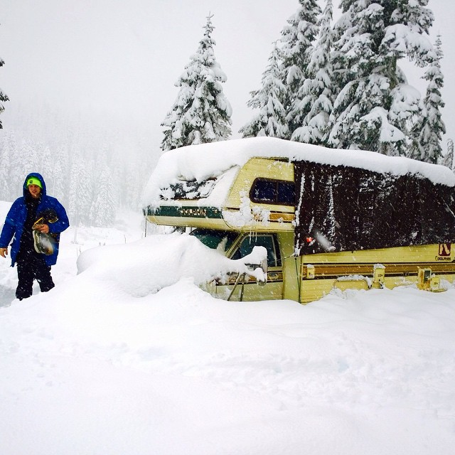Yesterday at @stevenspass parking lot. @madtreesusa got covered in their RV.  Did you know that you can park an RV and camp in the @stevenspass lot.  There is an amazing community of folks that prove ski in ski out is not only for the wealthy and that...