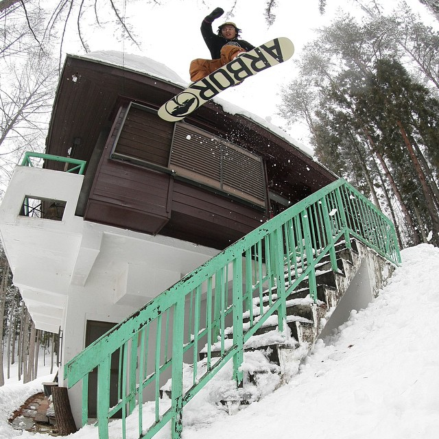 GO TO the @snowboardermag website snowboarder.com or hit the link in the Flux Insta profile and watch the full length Japan episode of Flux Binding's videos series, Snowboarding to Music. The vid features @erikleon_ pictured here and @yumaabe...