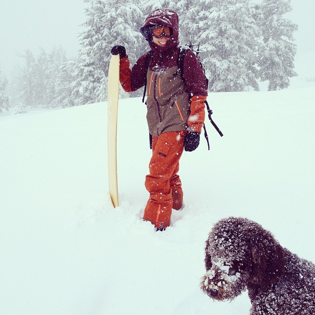 Office manager and positive vibes coordinator @vowilliams testing her new gear with dog Toddy today. Strong start to winter across the USA! #technylish #trew #trewgear