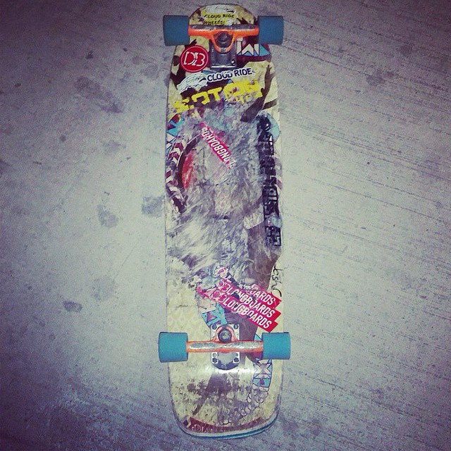 #regram from team rider @board4lyfe0101. Thrashed decks are the best decks.  #dblongboards #cloudridewheels #diamondback #dbdiamondback #thrashed #graphicgone #yolo #longboarding
