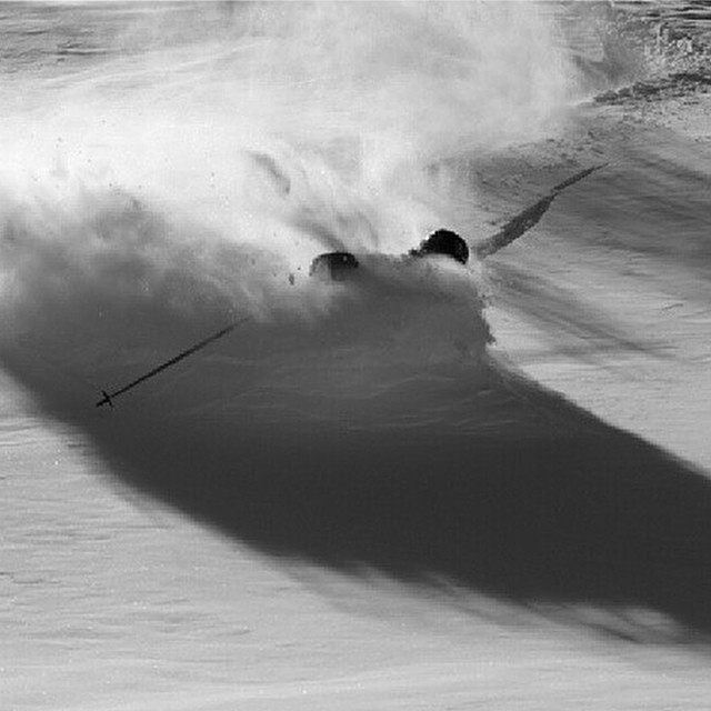 Casey Day finding some pow from the first storm of the year. PC: @dougtheskier #embracethestorm