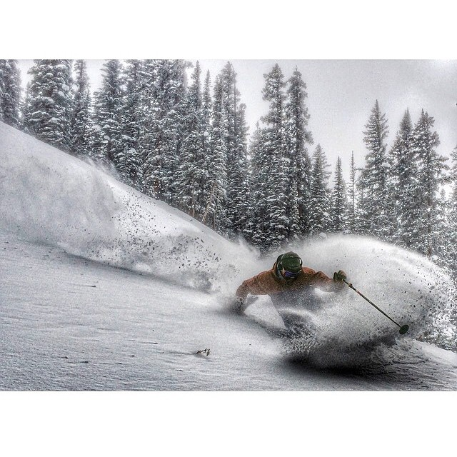 Re gram from our boi @ballinbu out in @aspensnowmass where the season is underway and snow has been falling for days!