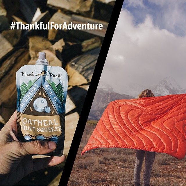 "Rumpl is almost one year old... This week, we're thankful for friends, family, all of the adventures we've had, and all the adventures yet to come. So to say, ""Thanks!"" to all of you, we're giving away a blanket and three boxes of @munkpack oatmeal..."