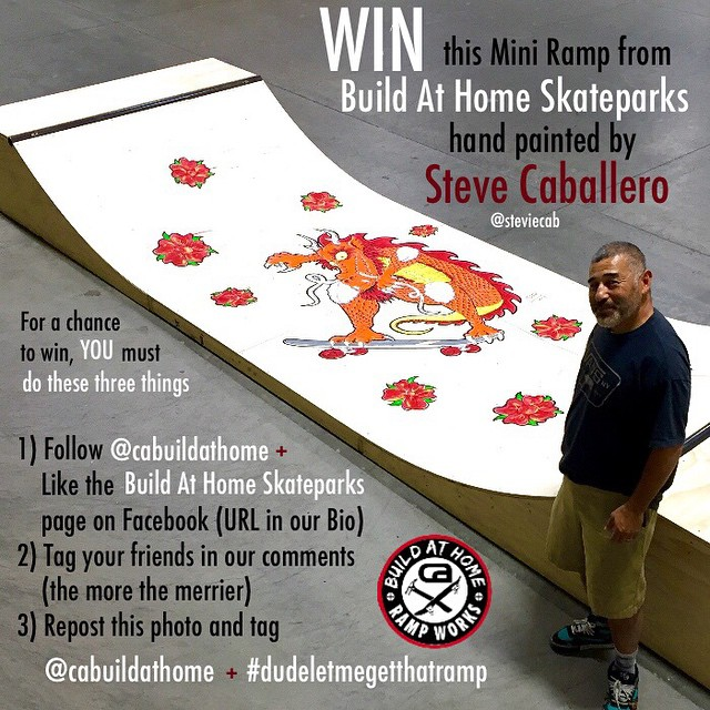 The @carampworks crew is giving away a mini ramp hand painted by skateboarding legend @steviecab.  Hit up @cabuildathome to figure out how it can be yours. #DudeLetMeGetThatRamp