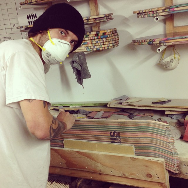 Iceman side sanding some boards for your riding pleasure. #recycledskateboards #irisskateboards #iceman #sandman