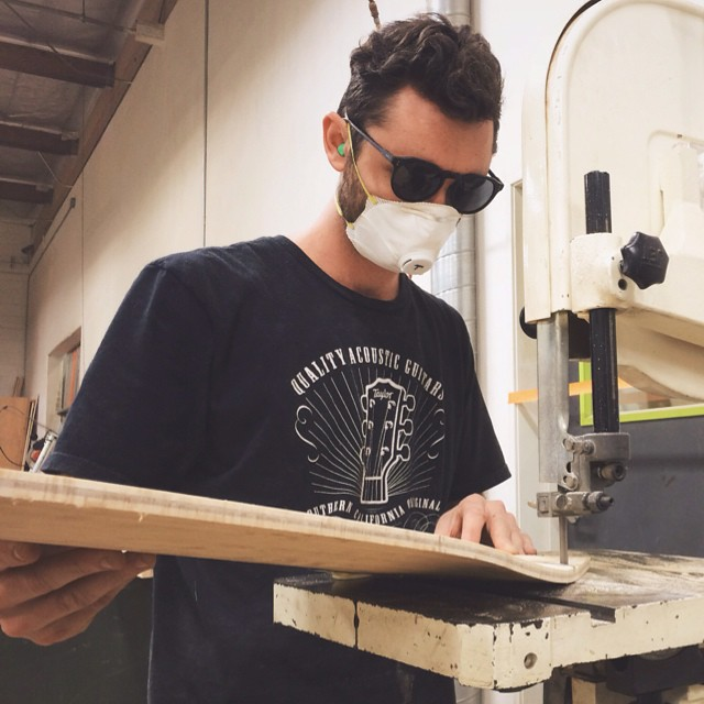 Thomas rocking the sickest protection glasses in the shop. #makersmonday @raen @polerstuff #naturallogskateboards #handcrafted #bamboo #cruiser #skateboards #skateboarding #woodworking