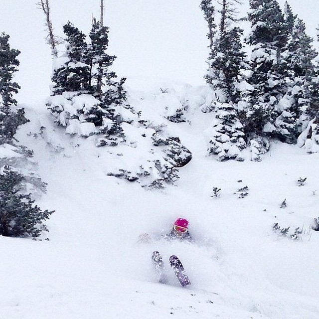 22inches yesterday at @altaskiarea and Flylow's @lucysack found it. Winter has begun, #embracethestorm