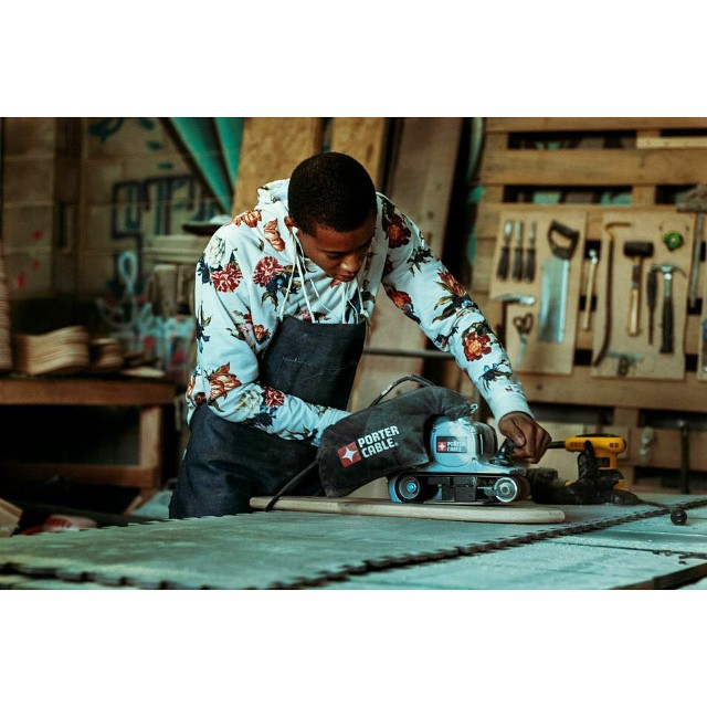 Kendrius hard at work getting boards ready for the Holidays. Photo cred: @michaelthinks #skateandemploy #skate #skateboard #handmade #handmadeskateboard #nashville