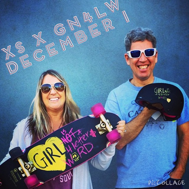 Cindy Whitehead of @girlisnota4letterword and Michael Brooke, founder/publisher of @concretewavemag show off the XS x GN4LW helmet and the @dusterscalifornia board collab with GN4LW! Helmet available online Dec 1st!  #xshelmets #gn4lw #forgirlswhoshred...