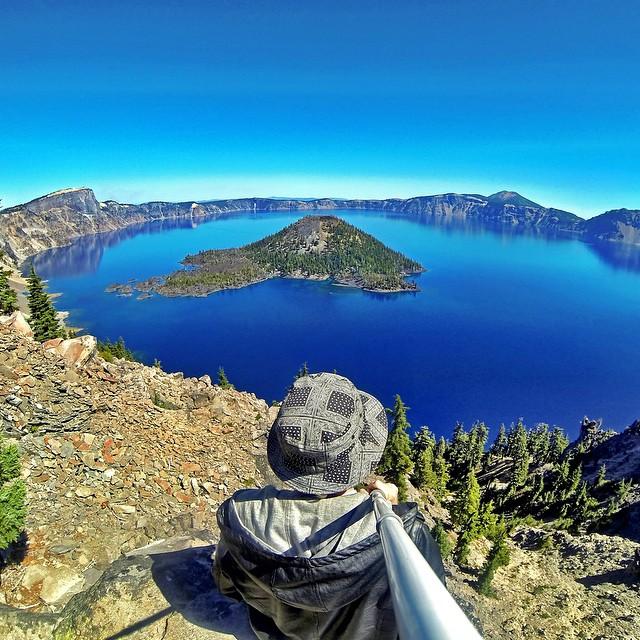 The view above Crater Lake in Oregon. Photo: @kohlten_g #gopro #gopole #gopolereach #craterlake