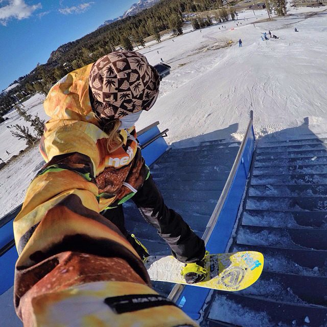 Front board a la selfie! @timhumphreys shredding @mammothmountain @mammothunbound opening weekend. #gopro #gopole #grenadegrip #snowboarding #mammoth @flowsnowboardn @neffheadwear