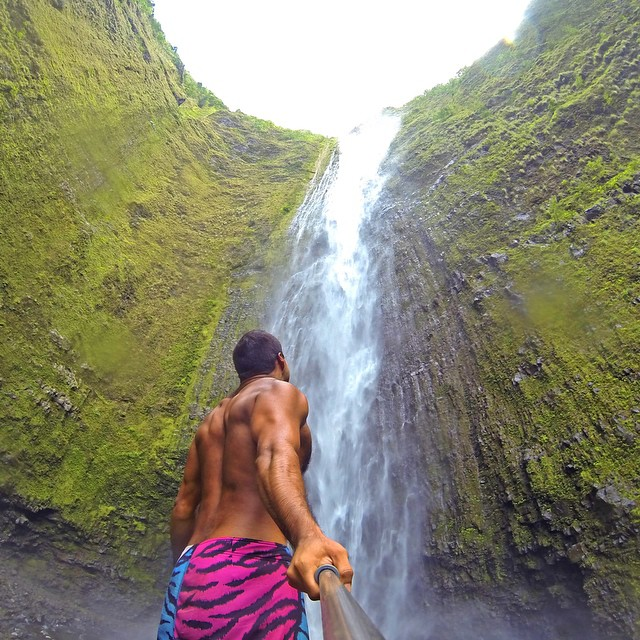 @hawaiian_adventure checking out Hi'ilawe Falls in Waipio Valley, Hawaii. #gopro #gopole #gopoleevo #hawaii