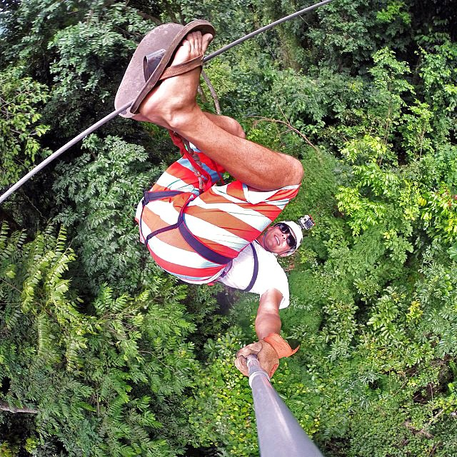 Upside down zip-lining over the jungles in Costa Rica. Photo from @tortugasurfcamp in Jaco, Costa Rica. #gopro #gopole #gopolereach #costarica #tortugasurfcamp
