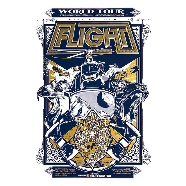 The Art Of Flight Tour Poster:  An original collaboration with acclaimed graphic artist @hydrosevenfour, history made and the game changed.  Get a piece of The Art Of Flight, $25 at http://asymbol.co/collections/flight....While you are there check out...