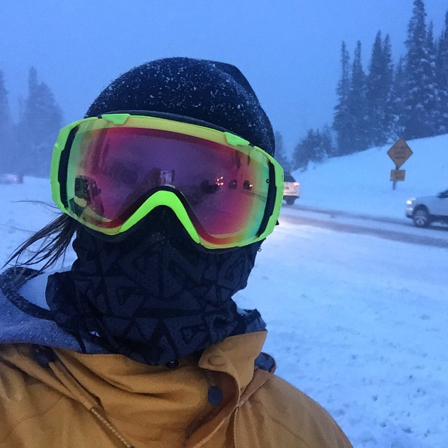 Feeling warm in happy standing at the top of Teton Pass in a blizzard. 40 mph wind gusts and pelting snow. My trusty Mesh Tshield facemask keeps my face nice and toasty, completely covered without fogging my goggles.