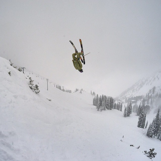 Needless to say Flylow's @sanderhadley was rather stoked about @altaskiarea opening. Flipping good time. #embracethestorm