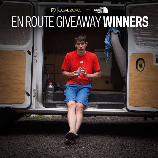 It may not be thanksgiving yet but we wanted to thank all of you who entered the @alexhonnold En Route giveaway! The winners are... 3rd place - Jonathan T. From Michigan. 2nd place - Tessa R. From California.  1st place and life changing prize goes to...
