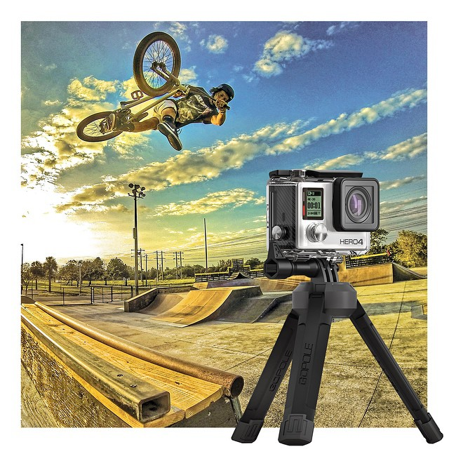 @dannyjosa testing the new GoPole Base during a sunset session in Florida. Use Base for an easy, hands-free way to capture the action. GoPro HERO4 | GoPole Base #gopro #gopole #gopolebase #bmx