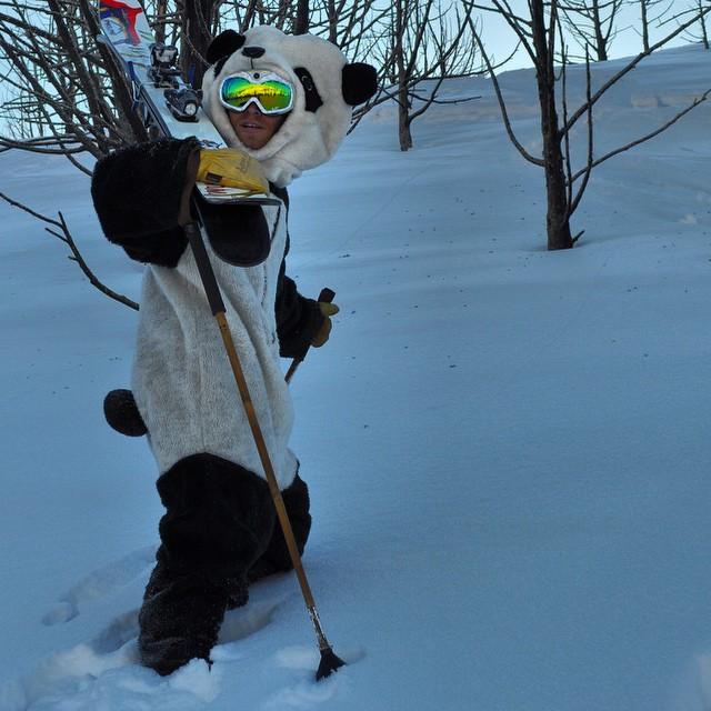 Happy Thank-ski-ving from TanSnowMan and all of us at Panda Poles! #TribeUP gratitude!  Photo: @mophofomo circa 2013  #PandaPoles #Thankskiving