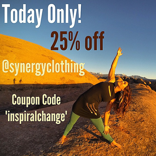 "@synergyclothing has been gracious enough to offer a coupon code to all the #inspiralchange challengers!! Use ""inspiralchange"" at checkout for 25% off ENTIRE ORDER!! Thanks Synergy Organic Clothing! #spottedinsynergy"
