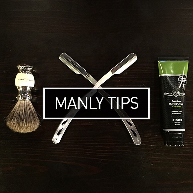 Manly Tips: How to shave with a straight edge. Go check the first post from our new blog series on tips for men and give your moustache a clean trim for the end of #movember #MyPakageManlyTips #justthetip