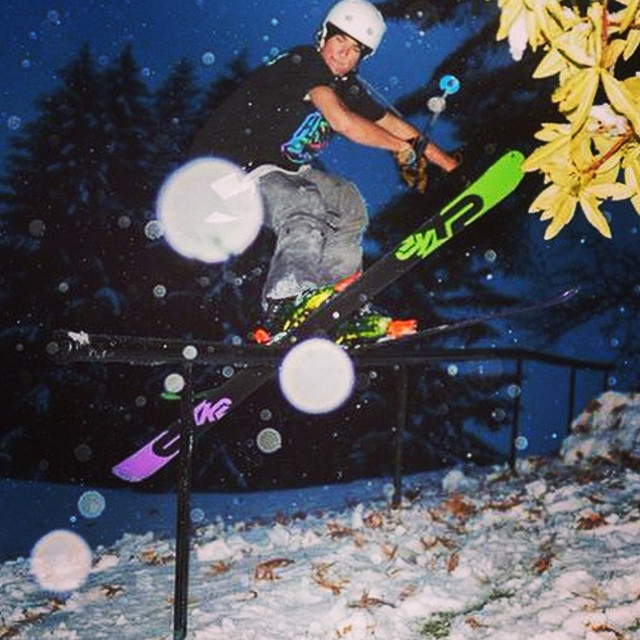 "@connorjclayton greasing rails in the Fulsend ""Tie Dyed Adventure"" Tee. Photo cred to Henry Crawford #skiing #carinthia #sendit #urbanterrainpark #k2skis #justsendit"