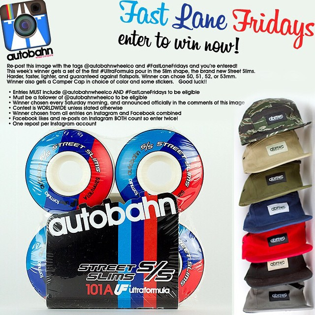 Re-post this image with the tags @autobahnwheelco and #FastLaneFridays and you're entered! This week's winner gets a set of the S/S Street Slims. Harder, faster, lighter, and guaranteed against flatspots. Winner can chose 50, 51, 52, or 53mm. Winner...
