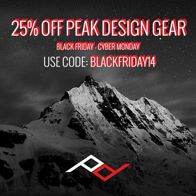 "It has begun! From now through #cybermonday, get 25% off nearly everything we make. Plus, #Slide and #Clutch camera straps are now available for a limited time $5 discount. Go to pkdsn.com/blackfriday, or use the code ""blackfri14"" at checkout."