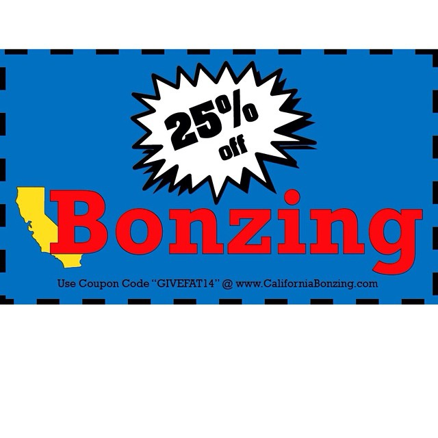 "Take 25% off all apparel at CaliforniaBonzing.com by using coupon code ""GIVEFAT14."" Free shipping guaranteed.  Sale ends on midnight on Monday December 1st.  #bonzing #sanfrancisco #skateboarding #shapers #artists"