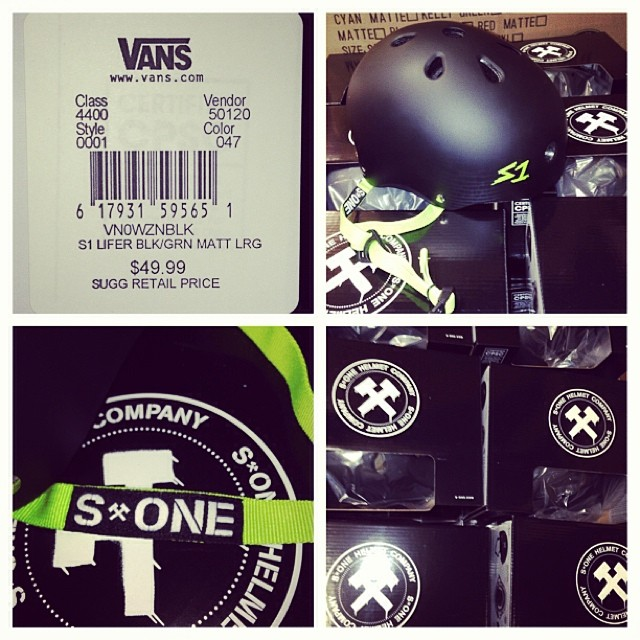 The #vans #skatepark at the #blockoforange ordered more #s1 #lifer #helmets for the #skateshop. #stoked