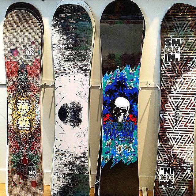 The color section of @pistoleboardshop . They support snowboarding and these Smokin riders : @laneknaack @eldulche @rakejose421 @austinvizz  #forridersbyriders #supportyourlocalsnowboardshop  #OK