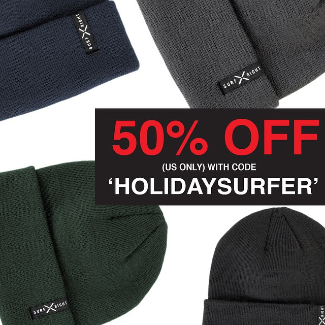 Our knit beanie is the perfect stocking stuffer! There is still time to take advantage of our Holiday sale! It only comes once a year, don't miss it!  www.surfrightproject.com #coldwatersurf #beanie #sale #surfright