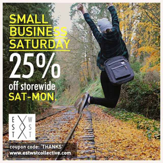"To celebrate #SmallBusinessSaturday and our first year of business, we're offering 25% off today thru Monday at www.estwstcollective.com just enter coupon code ""THANKS"" at checkout. #ecofashion #ethicalfashion #smallbizsat #consumeconsciously"